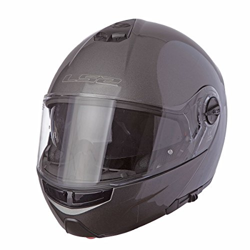 LS2 Helmets Strobe Solid Modular Motorcycle Helmet with Sunshield (Gunmetal, Small)