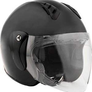 Fuel Helmets SH-WS0014 Open Face Helmet with Shield, Gloss Black, Small